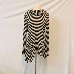 Andrea Jovine Cream & Black Striped Hooded Tunic